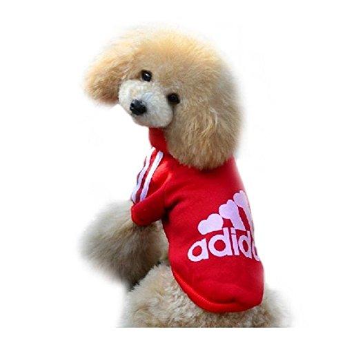 Ducomi Adidog Hunde Hoodie Kapuzenpullover aus weicher Baumwolle XS bis 8XL Versand aus DE (XXL, Rot)