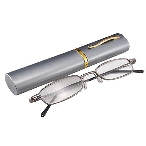 THG Unisex Lesebrille +1,5 Dioptrien, inklusive Brillenetui in Stiftform aus Aluminium mit...