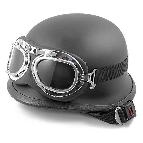 Jinjin Motorradhelm - Helm Jethelm Motorrad DOT-Zertifizierung für Erwachsene (mit Brille)