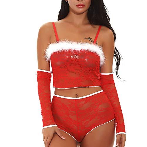 Yumimi Damen UnterwäSche UnterwäSche Negligees BHS Korsagen Bustiers Shapewear Unterhemden BH-Hemden Unterhosen Kleider Weihnachten PlüSch Sling Lace Erotische UnterwäSche Dreiteiliges Set
