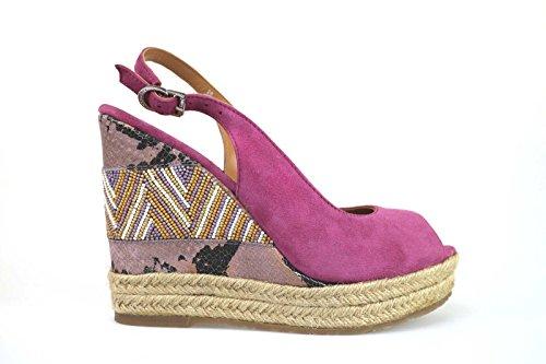 scarpe donna APEPAZZA sandali zeppe viola camoscio AK609 (36 EU)