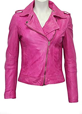 Royal Outfit Genuine Lambskin Real Leather Slim Fit Biker Jacket of Women's - Pink