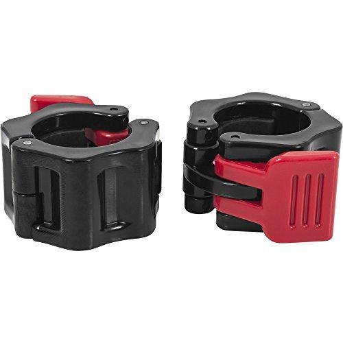 GORILLA SPORTS® Schnellverschlüsse für Hanteln 30/31 mm - 2er Set Hantelverschlüsse Kunststoff Rot/Schwarz