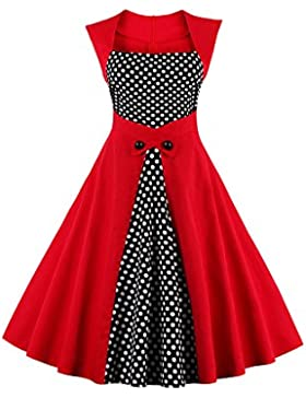 Botomi Women 's Polka Dots vintage retro estilo clasico coctel vestido de fiesta de swing