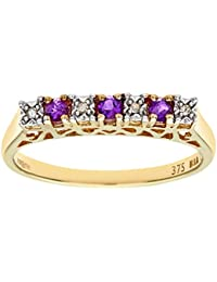 Naava 9ct Yellow Gold Diamond and Amethyst 7 Stone Eternity Ladies Ring
