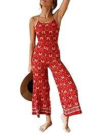 bab9a5259 Lover-Beauty Mono Mujer Elegante Largo Verano Mono de Honda Floral Bohemia Casual  Pantalones Floral Ropa Vestir Cintura Alta Vendaje…
