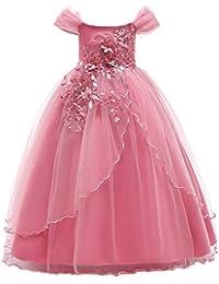 2cc3d4fe195 Happy cherry - Vestidos de Princesa con Lazo para Niña Falda Larga Tutú de  Fiesta con