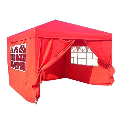Faltpavillon Wasserdicht 3 x 3 m,Partyzelt Faltbar,Festzelt, Campingzelt, Festivalzelt, Gartenmöbel,Rot