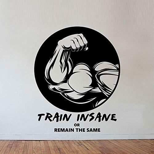 Fitness Gym Wandaufkleber Ausgangsdekor Zug Wahnsinn Kunst Wandbilder Wohnzimmer Schlafzimmer Dekoration Tapete 70CMX58CM (Fitness-wahnsinn)