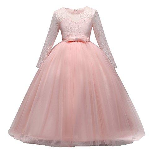 i Spitzen Kleid Fest Kinder Blumenkleid Lange Ärmel Hochzeit Brautjungfer Kommunion Party Kostüm Abendkleid Ballkleid Für Mädchen 3-14 Jahre (Maxi-kleider Für Mädchen)