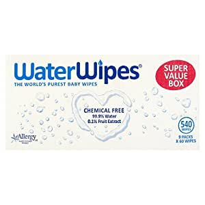 WaterWipes Sensitive Baby Wipes, Natural & Chemical-Free,  9 x 60 ( 540 Wipes)