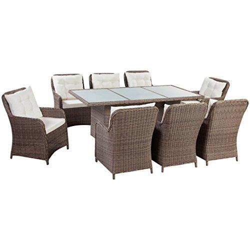 vidaXL Essgruppe 25-TLG. PE Rattan Sitzgruppe Gartenmöbel Set Lounge Gartenset