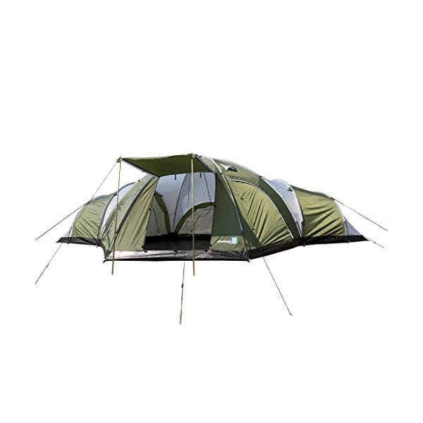Peaktop 3 Bedrooms 1 Large Living Room 8 Persons Camping Tent Family Group Double Poles Hiking Beach Outdoor Tunnel Dome 4000mm Waterproof &UV Coated Green 1 Year Warranty 1