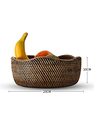 KKCFPAN Assiette de fruits Salon européen Creative Dried Fruit Plate Rattan Fruit Basket (couleur : Marron, taille : 23*10cm)