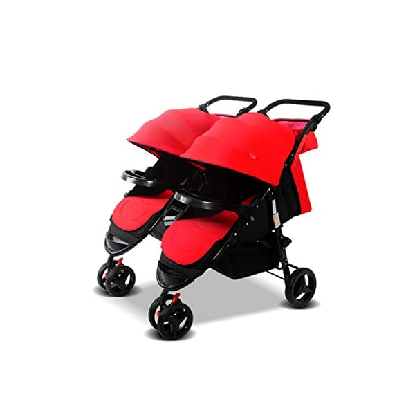 Twin Baby Stroller Sit/recumbent Lightweight Folding Detachable Ultralight Shock Absorber Bb Three-wheeled Trolley Suitable For 0-3 Years Old,L BABY CARRIAGE ZLMI ✿ detachable separately, easy to split and use independently, split twins advantage ✿ one set for three sets: 0-3 years old need one car, no need to buy another single car ✿ Alleviate the travel burden: the baby has their own car in independent action, the reinforced frame is strong in weight! It can bear the weight of two adults at the same time. 1