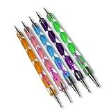 Ein mega Schnäppchen!!! Nail Art Dotting Tools / Spot Swirl - Professionelles Set aus 5 verschiedenen 2 Spitzen Swirl Tools / Spotswirl (jedes Tool hat andere Spitzen Groessen)