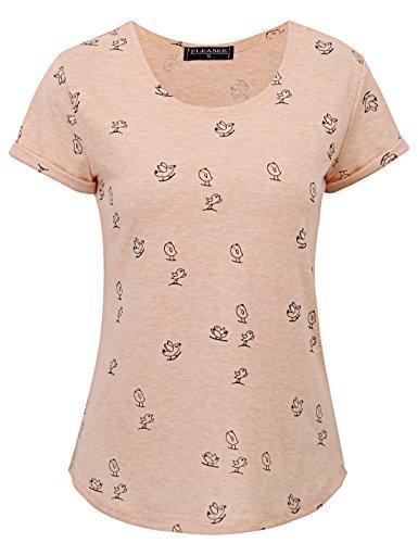 Fleasee Damen Sommer Kurzarm Stretch T-Shirt Frauen Print Tops Anker Sailing Sterne Herzchen Shirt