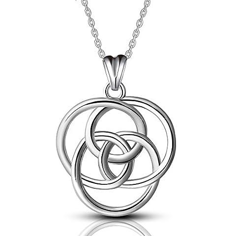 AEONSLOVE Schmuck für Frauen 925 Sterling Silber Kreis Keltische Knoten Anhänger Halskette, Kette 18