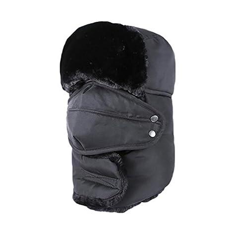 Baymate Unisexe Hiver Chapka Ear Flap Trappeur Bomber Casquettes Chaud Patinage Ski Sports Bonnets Chapeaux Noir