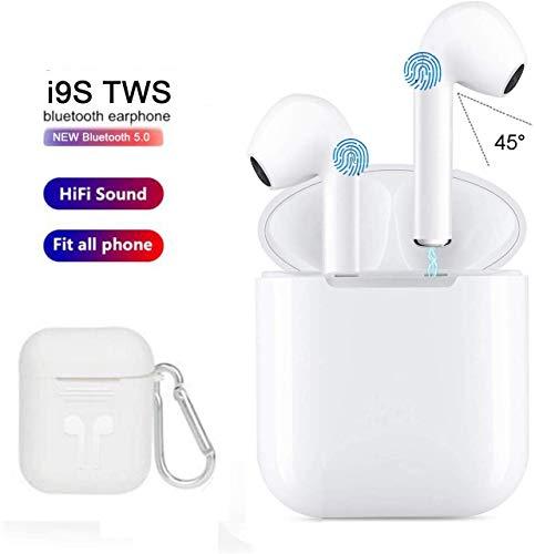Kingtele Auriculares Bluetooth inalámbricos Micrófono Resistente al Agua Deportivos Estéreo Real con Funda Power Bank para Todos Teléfono móvil Inteligente Samsung LG Laptop MP4 Blanco