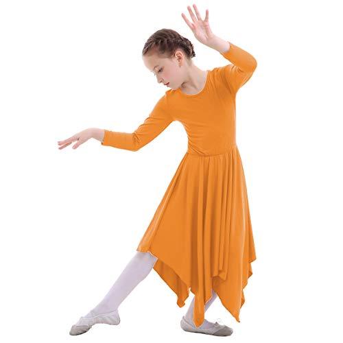 IWEMEK Mädchen Liturgischen Lob Tanzkleid mit Langarm Partykleid Ballettkleid Volltonfarbe Gebet Kleid Falten Maxikleid Kirche Anbetung Asymmetrische Dancewear Kostüm Orange 11-12 - Tanz Kostüm Kirche