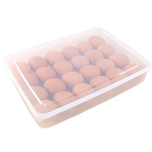 Eierbox,Hikeren Eier-Halter-Kasten Covered Egg Spender mit Griff-Speicher-Organisator für Küche 24-Ei Kapazität