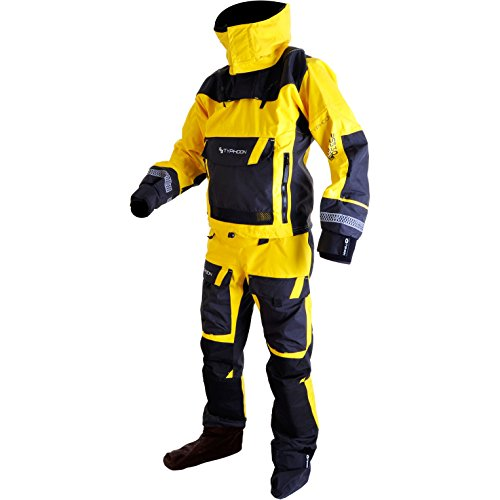 Typhoon 2017 Mens PS330 Kayak/Ocean Drysuit + Con Zip + Fleece Yellow/Black 100160 Sizes- - Large