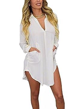Gladiolus Mujeres Largo Blusas Con Manga Larga V Cuello Camisa Blouses T Shirt Túnica Ocasional Blanco L