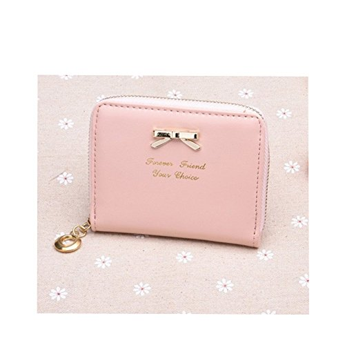 Distinct® nuova borsa delle donne di cuoio Mini portafoglio carta titolare Zip piccola moneta frizione (rosa) Rosa