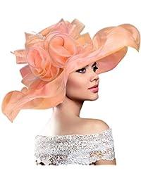 Dafunna Sombrero de ala Ancha Mujer Kentucky de Plegable Organza para Bodas  Diseño de Flores Mullido 1a25f0e802b7
