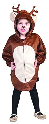 Faschingsfete Unisex Kinder Weihnachts Kostüm- Rentier, 98-116, 3-6 Jahre, Braun
