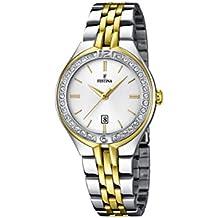 Festina F16868/1 - Reloj analógico de pulsera para mujer (mecanismo de cuarzo, esfera blanca y correa de acero inoxidable chapada en oro y plata)