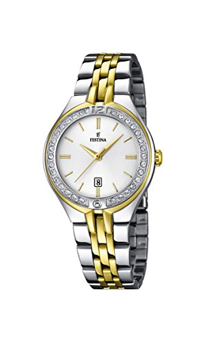 Festina Women's Quartz Watch with White Dial Analogue Display and Silver Stainless Steel Gold Plated Bracelet F16868/1