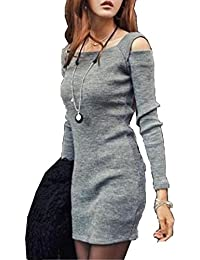 Amlaiworld Femmes Automne hiver Col manches longues maille court Mini robe