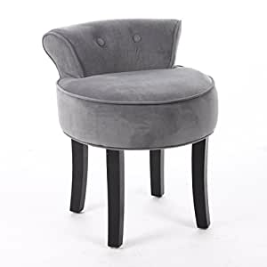 Vanity stool velvet look colour grey - Amazon bedroom chairs and stools ...