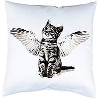 Kissen mit Druck Katze Kätzchen mit Flügeln Kissenbezug mit Motiv 40x40 cm Kissenhülle beidseitig bedruckt mit oder ohne Füllung