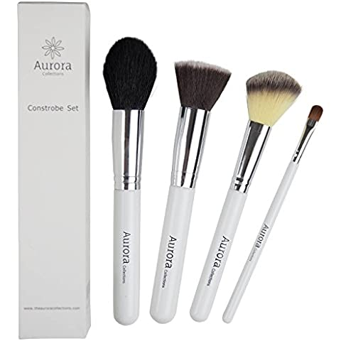 Contour & Strobing Brush Set (Constrobe Set) by The Aurora Collections, 100% Sat Guar, Professional Shed Proof Synthetic Makeup Brushes Ideal for Strobe Techniques, 4 Pc Kit - Make up Like a Pro! by Aurora Collections