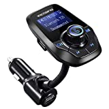 VICTSING Upgraded Bluetooth FM Transmitter for Car, Power Off Switch, Music Player Support USB Flash Drive/Micro SD Card/AUX Input, Wireless Radio Transmitter with 1.44'' Display, Dual USB - Black