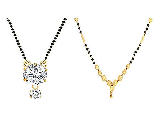 Awww Combo of 2 Gold Plated & American Diamond Mangalsutra Necklace for Women  available at amazon for Rs.239