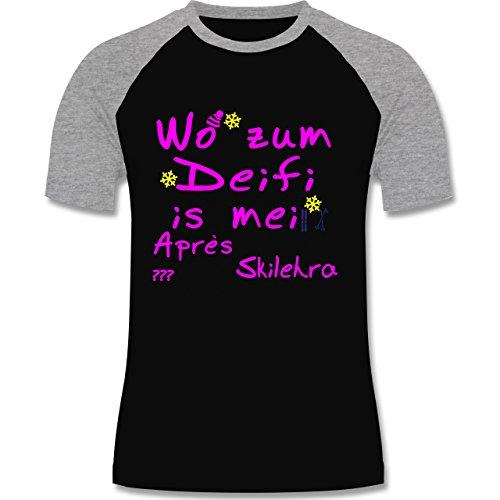 Après Ski - Wo zum Deifi is mei Apres Skilehra - zweifarbiges Baseballshirt für Männer Schwarz/Grau Meliert