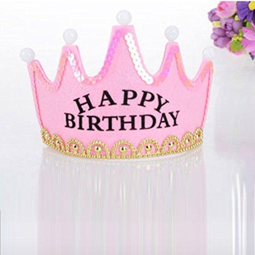 (frcolor Hut Geburtstag Happy Birthday Geburtstag Diadem Krone mit Licht LED (Pink))
