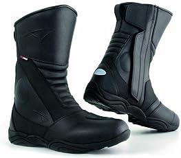 A-Pro stivali da motociclista, in pelle, impermeabili, traspiranti, per turismo e sport, colore nero, misura 44