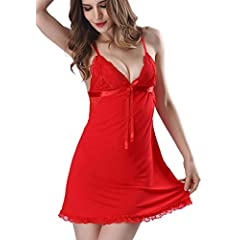 57705ee5bc0 Aibrou Womans Sexy Lingerie Nightdress Sleepdress Strappy V N .