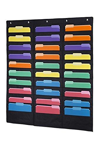 KERI & Joachim 30Tasche zum Aufhängen Datei Ordner Vertikale Wand Diagramm Organizer wird mit 30Gold Farbiger Datei Ordner Buchstaben Größe ⅓ Schnitt und 6HEAVY DUTY Bild Haken