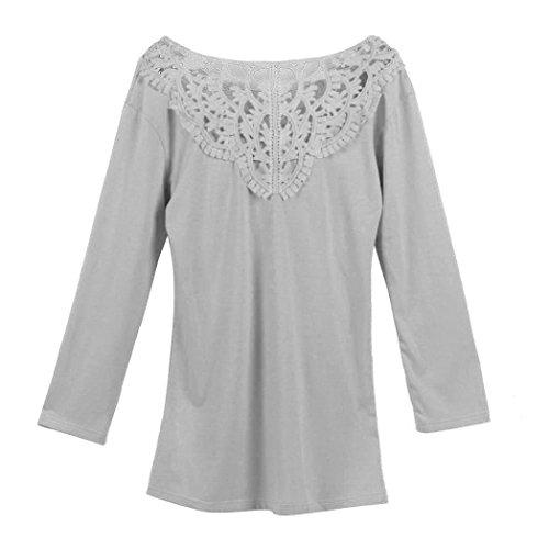 AmazingDays Chemisiers T-Shirts Tops Sweats Blouses,Femme Chemisier à Manches Longues Dentelle Chemise en Coton en Vrac Shirt Gris gray