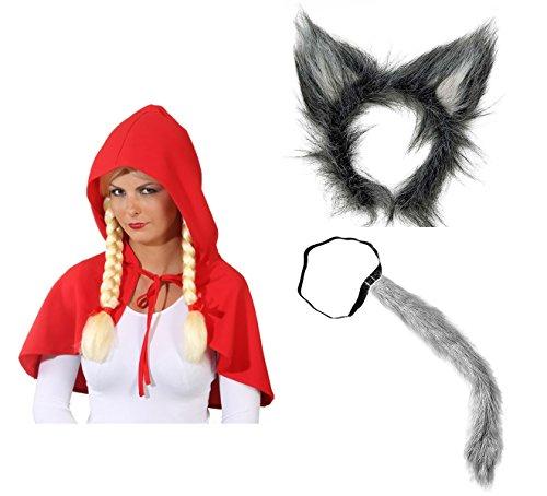 Panelize ® - Rotkäppchen rotes Cape Umhang und der böse Wolf-Set mit Haarreif und Schwanz (Der Red Hood Kostüm)