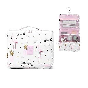 Homchen Hanging Travel Toiletry Bag, Waterproof Folding Portable Cosmetic Bag, Wash Bag for Men and Women (Flamingo White)