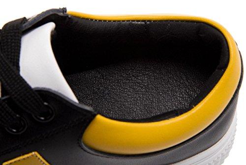 YCMDM Women'sGenuine Chaussures en cuir Chaussures de sport Conseil Chaussures Étudiants Chaussures Casual Cómic Chaussures simples Printemps et Automne black yellow