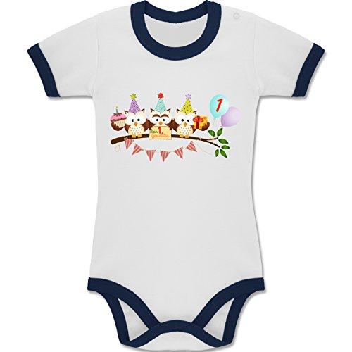 Shirtracer Geburtstag Baby - 1. Geburtstag Süße Party Eulen Erster - 12-18 Monate - Weiß/Navy Blau - BZ19 - Zweifarbiger Baby Strampler für Jungen und Mädchen