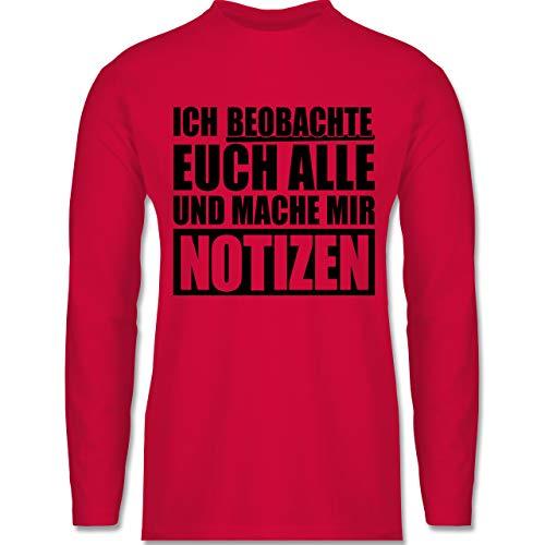 Shirtracer Festival - Ich beobachte euch alle - schwarz - L - Rot - BCTU005 - Herren Langarmshirt -